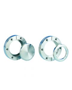"""100014, DN40CF, 69.3mm (38.1mm x 34.9mm x 38.3mm x 39.6mm), 2.75"""" (1.5"""" x 1.37"""" x 1.5"""" x 1.55"""") Del-Seal Mini ConFlat Flange, Rotatable, Clearance, 304ss"""